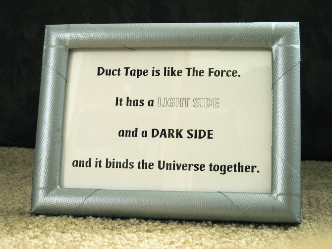 The finished Duct Tape frame with quote