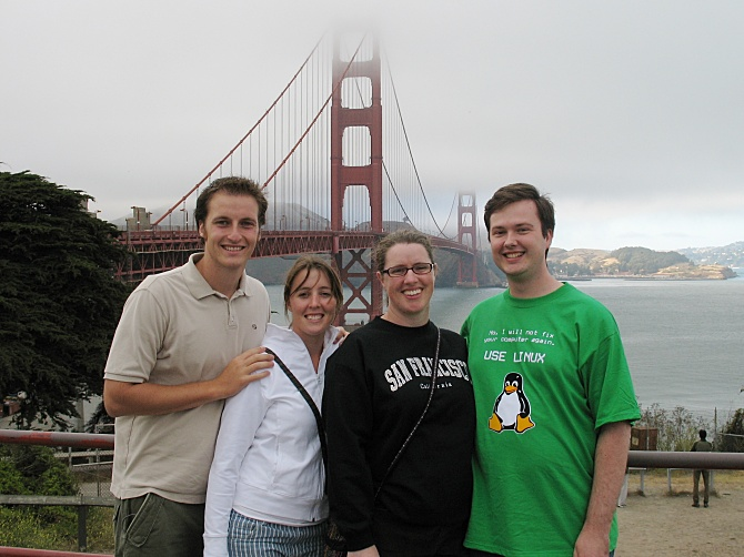 Tommy, Elizabeth, Krissy, and Shawn at the Golden Gate Bridge.